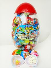China Toy Egg Candy Happy Egg Multi Fruit Flavor Candy Jelly bean With Lovely Mini Spinner Toy candy factory
