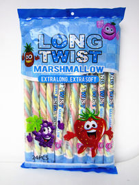 China Fruit Flavor Long Twisted Marshmallow Candy Bar Extra Long And Soft factory