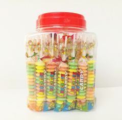 China Multi Fruit Flavor Baby Compressed Candy Brochette In Plastic Jars Taste Sweet And Sour factory