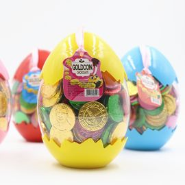 China Egg Shape Custom Chocolate Coins 4 Colors In One Carton Private Label factory