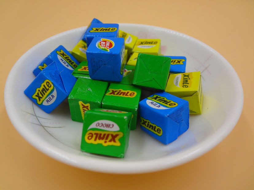 Large Sugar Cubes / Cube Shaped Candy Crispy Feeling Green Snack Foods