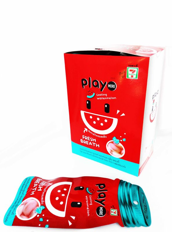 12g Play  thailand Watermelon Flavored Candy  Peppermint Vitamin C Tablet Candy