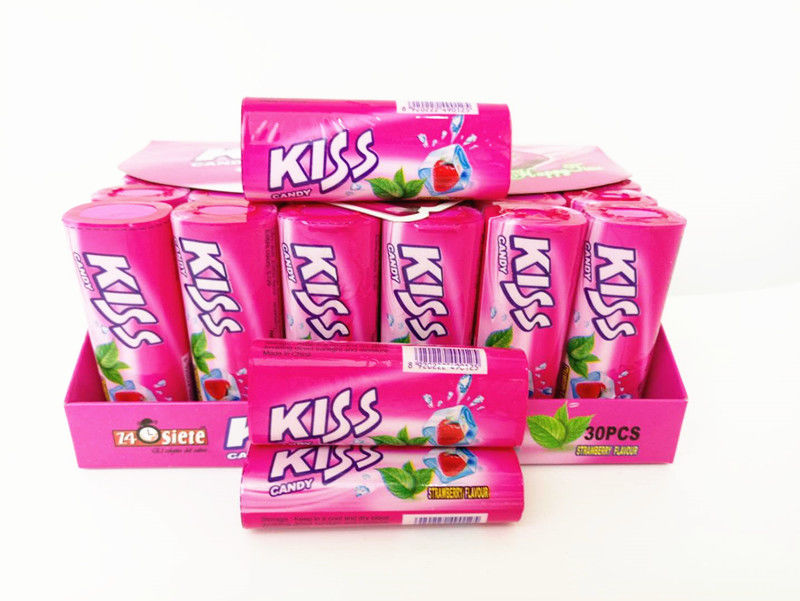 Kiss Candy Strawberry With Mint Flavor Compressed Mint Candy Fresh Your Mouth supplier