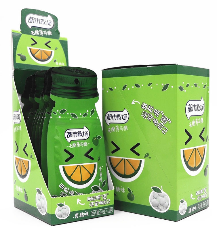 Cooling Tangerine Flavor Vitamin C Sugar Free Mint Candy Sachet Pack/HACCP,ISO supplier