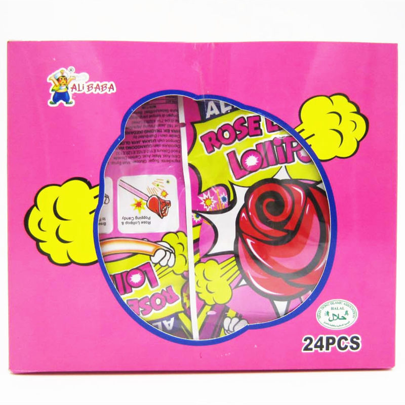 Sweet candy Rose Shaped Lollipops With Fluorescence Stick And Popping Candy