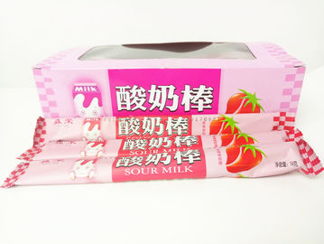 Strawberry Flavor Yogurt Sticks Candy / Fruit Chewy Candy Sweet And Sour