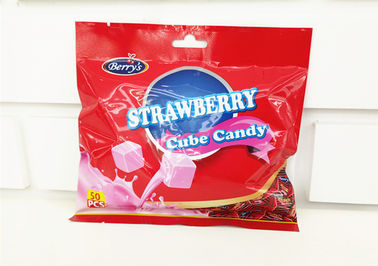2.75g Cube Shape Strawberry Flavor Milk Candy In Bag Healthy And Yummy