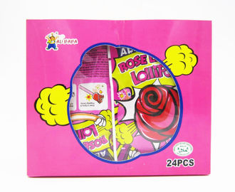 Rose Shaped Lollipops With Fluorescence Stick And Poping Candy/Multi fruit flavor