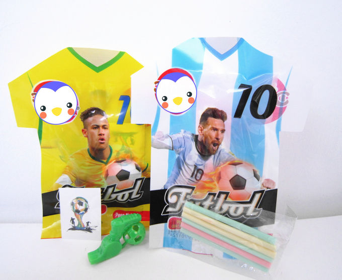 World Cup Multi Fruit Flavor CC Stick Candy With Tattoo Stick And Soccer Whistle